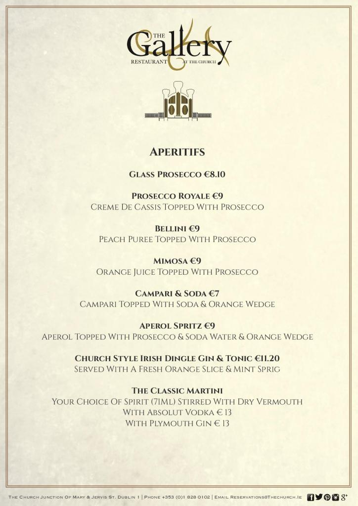 Hervorragend A La Carte Menu | Restaurant in Dublin | The Church UN78