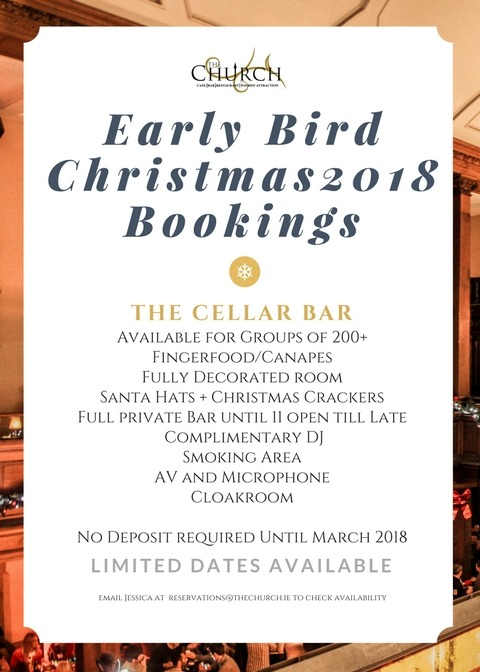 The Church Early Bird Christmas Bookings 2018